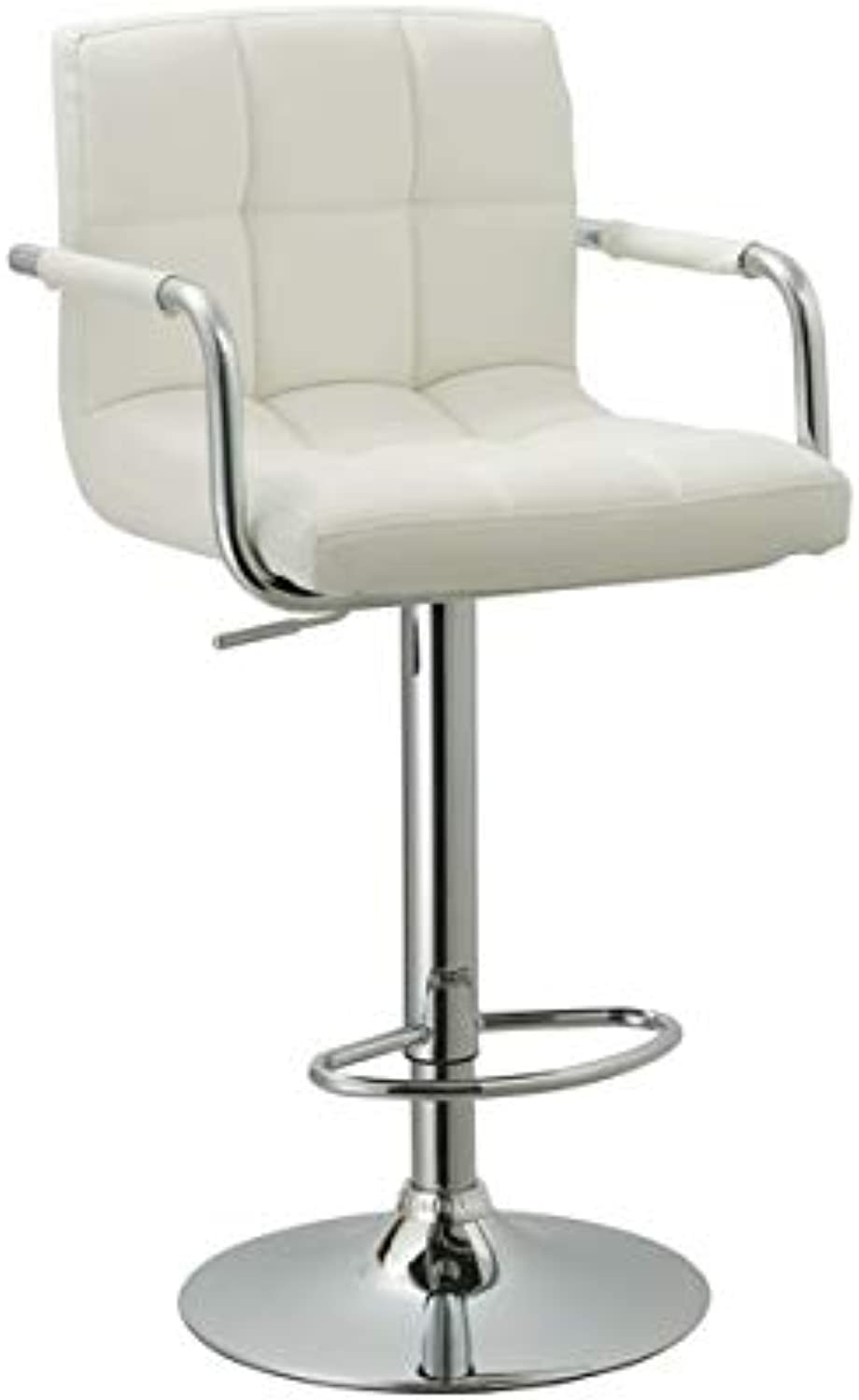 HomeRoots Furniture Contemporary Adjustable Swivel Arm Bar Stool with Cushion