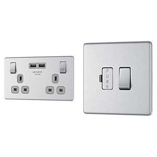 BG Electrical Screwless Flat Plate Double Switched Fast Charging Power Socket, Brushed Steel & Electrical Screwless Flat Plate Switched Fused Connection Unit, Brushed Steel, 13 Amp