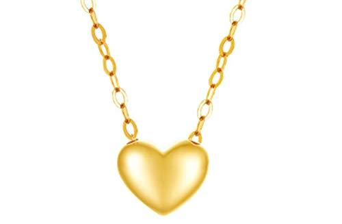 KnSam 18K Oro Amarillo Collar, Cadena de Clavícula Corazón, Color Oro, Amarillo Oro