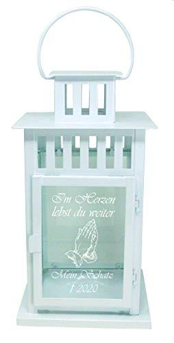 UDIG Trauer-Laterne Metall weiß Mod. 4 mit ind. Text und Motiv 28x15,5x15,5 cm Grablaterne Grablicht