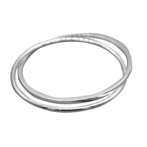 Brillante y colorido anillo doble plata maciza 999 pulsera cerrada