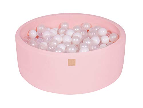 MEOWBABY Foam Ball Pit 35 x 11.5 in /200 Balls Included ∅ 2.75in Round Ball Pool for Baby Kids Soft Round Ball Pool Children Toddler Playpen Light Pink: White/Transparent/White Pearl
