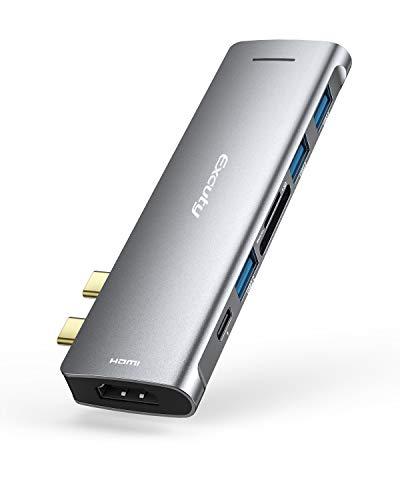 Excuty USB C ハブ 7-in-2 USB Type C ハブ MacBook Pro/Air専用USB C ドッキングステーション USB 3.0ポート* 3 5Gbps高速データ転 Thunderbolt 3 100W PD急速充電 4K HDMI出力 SD/Micro SD カードスロット 超軽量 Type C ハブ MacBook Pro 2020/ 2019/ 2018/ 2017/ 2016, MacBook Air 2020/ 2019/ 2018 など対応