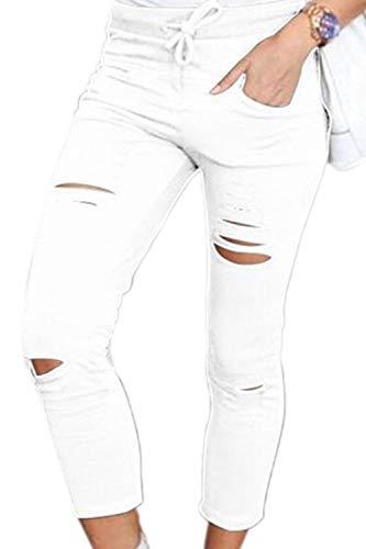 Broeken dames elegante skinny stretch vrijetijdsbroek zomerbroek potlood koord effen kleuren eenvoudige stijl gaten trend normale lak pants