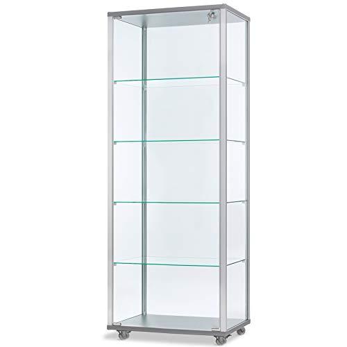 MHN hohe verschließbare unbeleuchtete Glasvitrine 60 x 40 cm mit Spiegelrückwand/auf Rollen