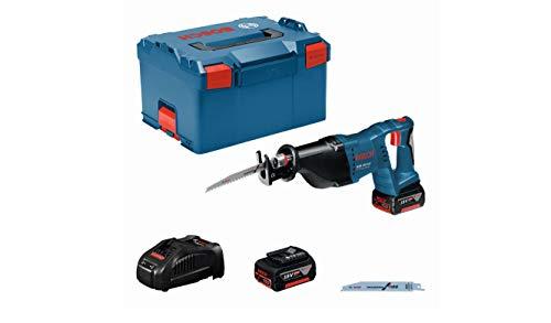 Bosch Professional GSA 18 V-LI - Sierra sable a batería (2 baterías x 5.0 Ah, 18 V, 2.400 - 2.700 cpm, control de velocidad, en L-BOXX)