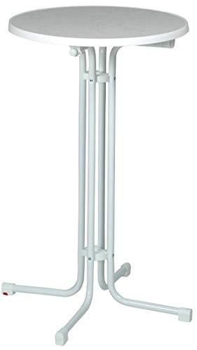 Acamp Stehtisch Bistrotisch klappbar Piazza Basic rund | Weiß/Weiß | Ø70xH110cm | Gestell aus Stahlrohr | Pflegeleichte Holzfaserplatte Sevelit | Niveauausgleich