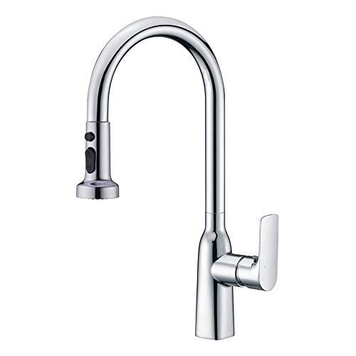 WENKEN Kitchen Tap, Chrome Kitchen Mixer Tap, 360 Swivel Kitchen Sink Tap, Kitchen Tap with Pull Out Sprayer with Pause Function