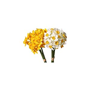 BOZHONG 6pcs/Lot Garden Wreath Living Room Home Decoration Wedding Narcissus Fake Flowers Daffodil Artificial Plant(Yellow)