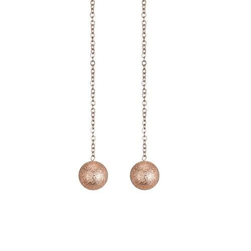 Acero de titanio chapado en oro rosa de 18 quilates, temperamento femenino, cuentas de frijol simples, pendientes largos de borla