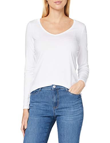 ESPRIT Damen 999Ee1K816 Langarmshirt, 100/WHITE, Large (Herstellergröße: L)