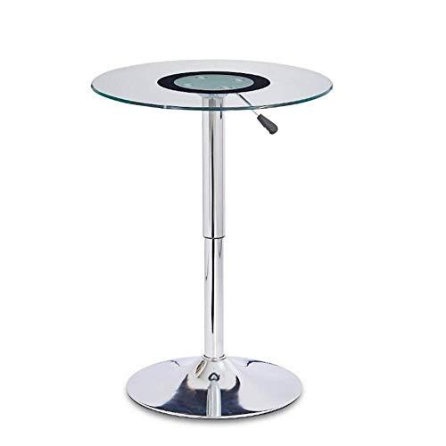 Tavolino da divano, Tavoli Tavolo da bar sollevabile, Tavolo rotondo alto da bar, Tavolo da negoziazione in vetro temperato, Tavolino da caffè piccolo, Struttura elettrolitica per soggiorno Colore: Ve