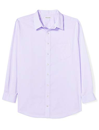 Amazon Essentials Men's Big & Tall Wrinkle-Resistant Long-Sleeve Solid Dress Shirt, Lavender, 19' Neck, 34'-35' Sleeve
