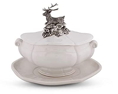 """Vagabond House Pewter Metal Stag Forest Stoneware Soup Tureen 3 pieces Tureen/Lid/Tray 13"""" Long x 9"""" Wide - 13 Inches Long"""