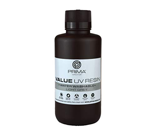PrimaCreator Value Water Washable UV Resin - 500 ml - Light Grey
