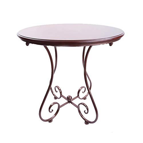 ZWD Table Basse, Balcon Salon Restaurant Bar Table Petite Table À Manger Fer Art en Bois Table Ronde Taille 40-60 CM Meubles (Couleur : D, Taille : 55 * 65CM)