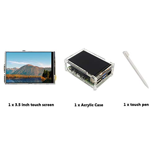 Sylvialuca LCD-Touch-Display + Touch-Pen + transparentes Acrylgehäuse 50 FPS SPI hohe Bildwiederholfrequenz 3,5-Zoll Für Raspberry Pi 4 Modell B