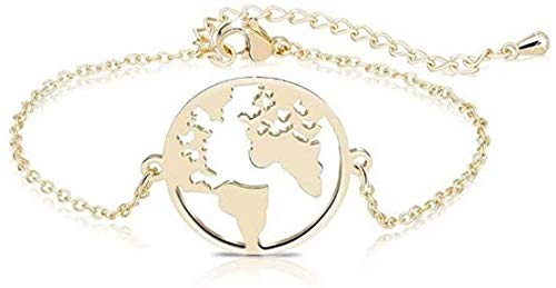Pulsera de Acero Inoxidable Mapa del Mundo Pulsera Mujeres Geométrico Tierra Globo Mapa Pulsera Joyería