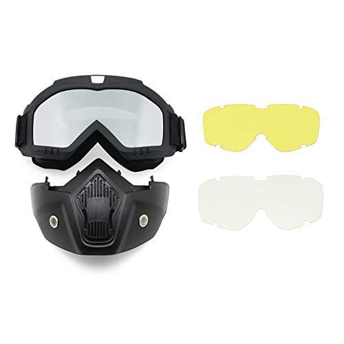 EnzoDate Motocicleta Bici de la Suciedad ATV Gafas Máscara Desmontable Proteger Acolchado Casco Gafas de Sol Montura en Carretera UV Gafas de Moto