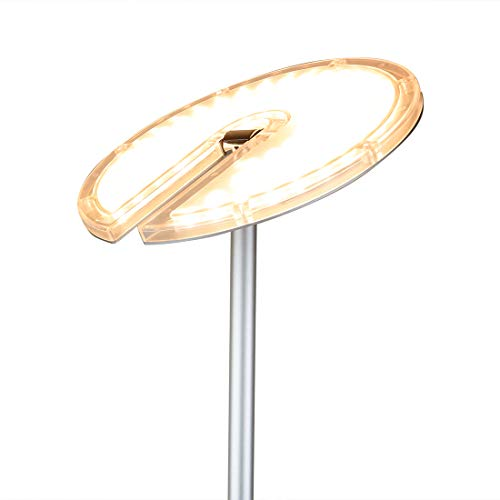 O'Bright Dimmable LED Torchiere Floor Lamp, 270° Tilt Head, 3000 Lumens, Adjustable Brightness, Standing Pole Lamp / Reading Light / Floor Lamps for Living Room, Bedrooms, Dorm and Office (Silver)