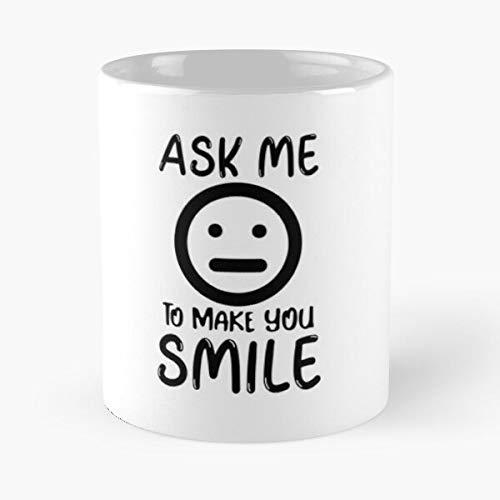 Taza de café de cerámica con texto en inglés 'Mouth Ask Smile to Smiling Me Teeth You Memes Laugh Make Smiley Eat Food Bite John Best 11 oz
