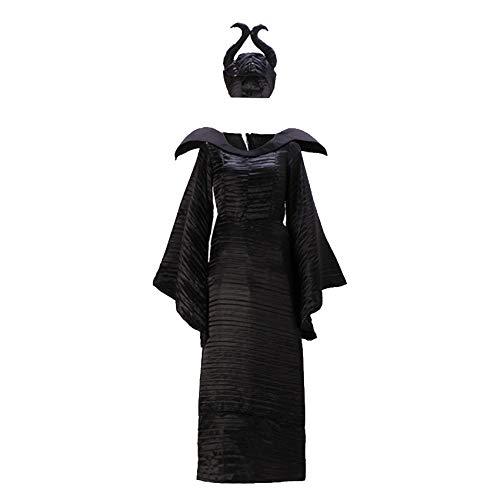 WDRSY Disfraces de Terror Disfraz de maléfica Traje de Bruja Disfraz de Demonio de Bruja Disfraces de Mujer Disfraces de Halloween para Mujer Tallas Grandes-Negro_SG