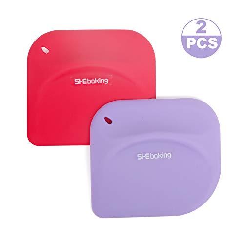 2 Pc Silicone Pastry Bench Dough/Bowl Scraper Spatula Multipurpose Kitchen Gadgets for Bread Dough Cake Fondant Icing (Red+Purple)