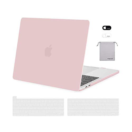 MOSISO FundaDura Compatible con MacBook Pro 13 A2338 M1 A2289 A2251 A2159 A1989 A1706 A1708,Plástico Carcasa Rígida&Cubierta de Teclado&Protector de Pantalla&Bolsa de Accesorios,Cuarzo Rosa