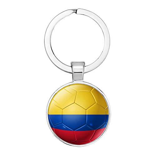 YANYING Personalidad Llavero Bandera De Fútbol Tiempo Gema Llavero Colgante De Coche Colombia