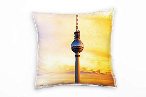 Paul Sinus Art City, Orange, Sonnenuntergang, Berliner Fernsehturm Deko Kissen 40x40cm für Couch Sofa Lounge Zierkissen - Dekoration Zum Wohlfühlen Hergestellt in Deutschland