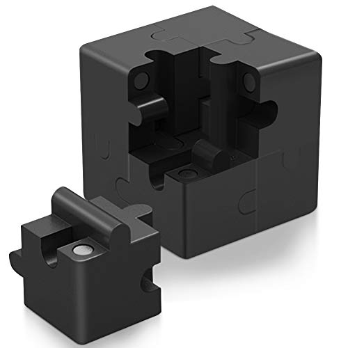 Newly 3D Metal Brain Teasers Puzzle for Adults and Kids, Magnetic Cube Puzzle Games for Desk, Unique Assembly, Brain Teasers Games To Develop Intelligence and Relief Stress-Black