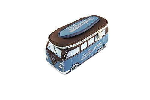 BRISA VW Collection - Volkswagen Combi Bus T1 Camper Van 3D Trousse de Maquillage en Néoprène, Sac à cosmétiques, Nécessaire de Toilette/Culture, Étui, Porte-Crayon, Universel (Bleu pétrole/Brun)