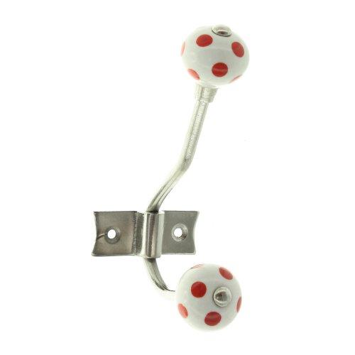Crochet double rouge à pois blanc en métal 42