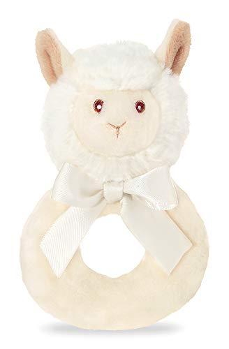 Bearington Baby Lil' Alma Plush Stuffed Animal Llama Soft Ring Rattle, 5.5 inches