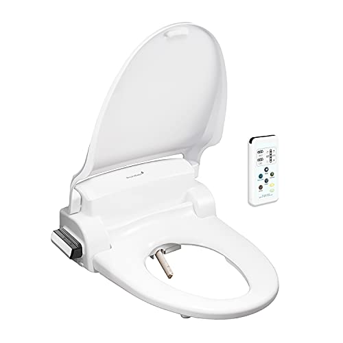 SmartBidet SB-1000 Electric Bidet Seat for Round Toilets with Remote Control- Electronic Heated Toilet Seat with Warm Air Dryer and Temperature Controlled Wash Functions (White) Made in Korea