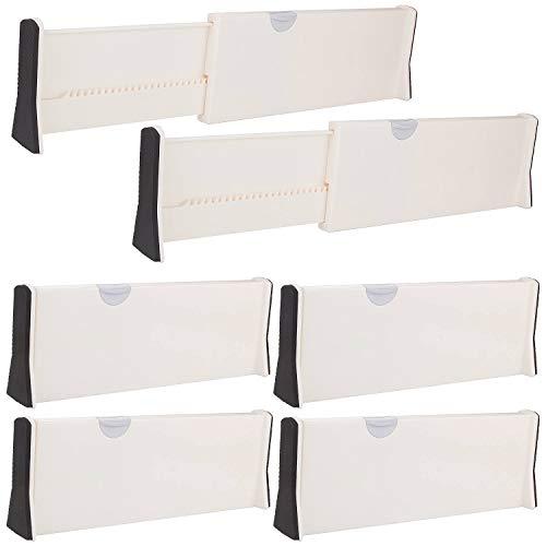 6 separadores de cajones ajustables A+Selected de 17 pulgadas, separadores de cajones de plástico, apto para cocina, baño, dormitorio, oficina, tocador, escritorio, color blanco (paquete de 6)