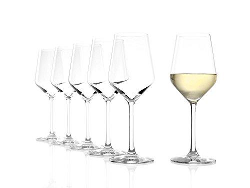 Copas Revolution para vino blanco de Stölzle Lausitz, de 365ml, juego de 6, copas para vino blanco sofisticadas y de alta calidad, copas para vino blanco de uso versátil