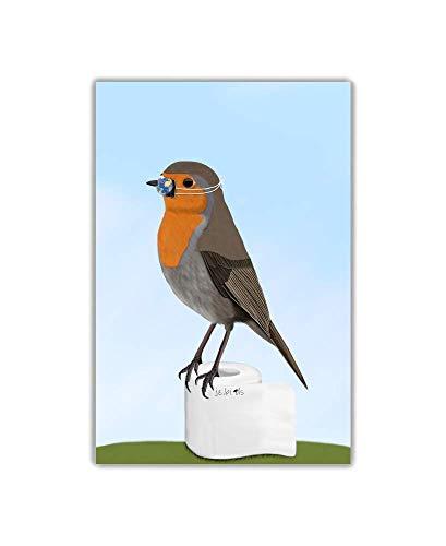Kinderzimmer Kunst für Kinder Poster Hellblau Rotkehlchen Vogel mit Mundschutz Zeichnung auf Premium Fotopapier