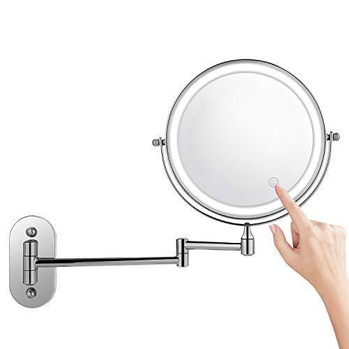 oliote Espejo de Maquillaje 8 con Luz LED Ajustable 1X/7X Aumento Espejos de Aumento de Pared de Doble Cara Giratorio Espejos Extensibles para Baño y Tocador