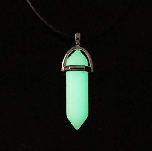 Collar con Colgante de Piedra Lunar Hexagonal Luminosa Fluorescente Luminosa de Cristal Kida, Collar con Gema de Cristal Que Brilla en la Oscuridad (Color al Azar)