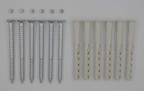 6 Sicherheitsschrauben 6 x 80 mm für Fenstergitter inkl. Dübel & Pin