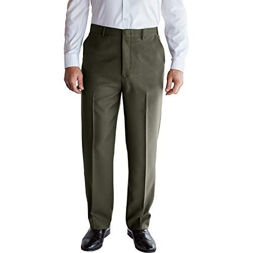 KingSize Men's Big & Tall Easy-Care Classic Fit Expandable Waist Plain Front Dress Pants, Olive Big-5838