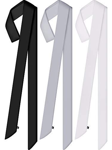 3 Pieces Summer Skinny Scarf Plain Scarves Solid Color Satin Scarf Narrow Scarf Belt Neck Wrist Scarf (Black, White, Grey)