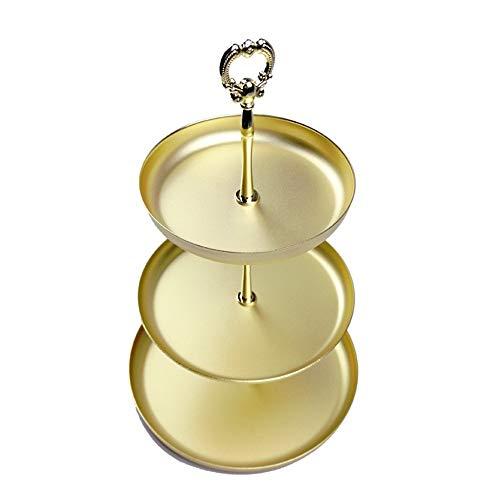 EVFIT Organizador de joyería Creativa Joyería Creativa Tres Capas de Oro Bandeja de Almacenamiento Estante de Almacenamiento Exhibición del Soporte Joyería (Color : Gold, Size : 20.3x20.3x30.5cm)