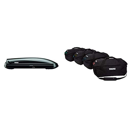 Thule Pulse Rooftop Cargo Box, Large & Thule Gopack Duffel Set (4 Pack), Black