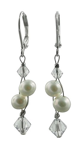 Rivelle Damen Süßwasserperlen Ohrringe creme Hängende Ohrringe echte Perlen 7,5 mm