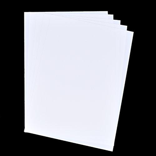 Kesheng 5pcs Plástico Mágico Blanco Imprimible 21x29,7cm para Manualidades de Llavero Pendientes Arte de Encogimiento