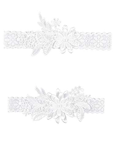 2 Pieces Wedding Garters Daisy Lace Bridal Garter Hand Sewn Faux Pearls Garter for Bride (Milk White)