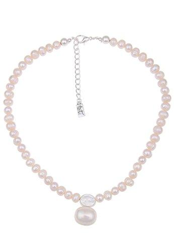 Leslii kurze Damen-kette echte Perle weiße Perlen-Kette Süßwasser-Zuchtperlen Collier Perlencollier kurze Halskette 45cm Weiß