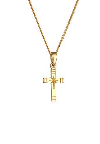 Elli PREMIUM Halskette Damen Kreuz Anhänger Religion Panzerkette in 585 Gelbgold